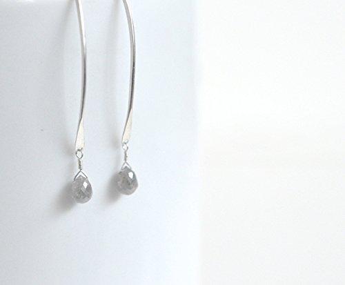 Gray Diamond Earrings - Grey Diamonds & Sterling Silver Drop Earrings -