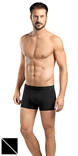 (HANRO Men's Cotton Essentials 2-Pack Boxer Brief with Covered Waistband, Black, X-Large)