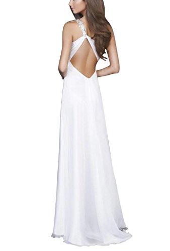 Abendkleid BRIDE mit SchulterChiffon Vorder langes Eine Perlen GEORGE Elfenbein Split Brillante Y0RwdqYZ