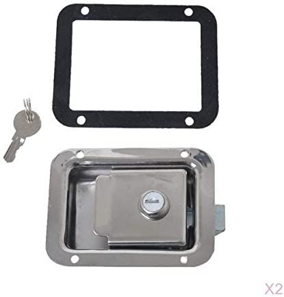 2x Stainless Steel Paddle Lock Locker Flush Handle Lock Latch Recessed Mounted