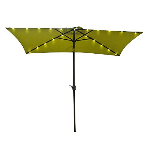 Aok Garden 9ft x 6ft Duluxe Tilting Solar LED Lighted Antique Brown Finish Market Outdoor Umbrella W/Crank System and tilt Function with Heavy Duty 220g Polyester PA Coating Sunshade Green