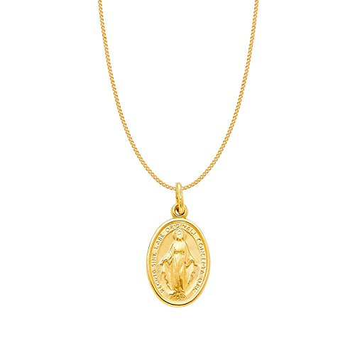 14k Yellow Gold Miraculous Medal Virgin Mary Pendant with 0.8-mm Yellow Gold Square Wheat Chain 14k Yellow Gold Miraculous Medal