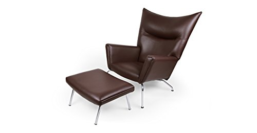 e Hans J Wegner Style Wing Chair & Ottoman Brown Leather ()