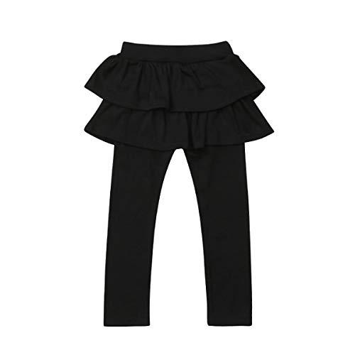 Orz.orange Kids Girls Lace Ruffle Leggings Gauze Culottes Tutu Skirt Leggings Pants (Black2, 2-3 Years) ()