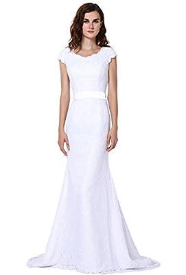 Vegeron Cap Sleeve Mermaid Lace Wedding Dresses Bridal Gowns for Women