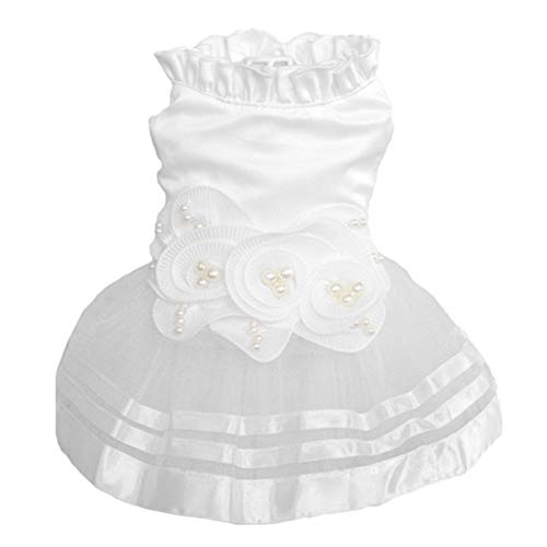 CheeseandU Small Dog Cat Cute Sweet Princess Dress Dog Puppy Luxury Pearl Flower Dress Tutu Skirt Wedding Dress Summer Dog Clothes Bride Costume Apparel for Wedding Party Birthday Photo, White]()