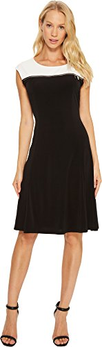 Calvin Klein Womens Yoke (Calvin Klein Women's Sleeveless Dress with Zipper Yoke Black Dress)