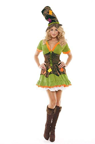 ESSA OAT clothes series Racy Ragamuffin Costume Lace Up Dress with Velvet Patchwork Stove Pipe Hat