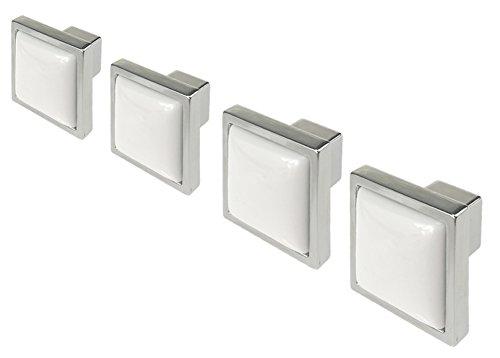 Ceramic Kitchen Cabinet Knobs 4 Pack White Square Porcelain Drawer Dresser Knobs Handles Pulls