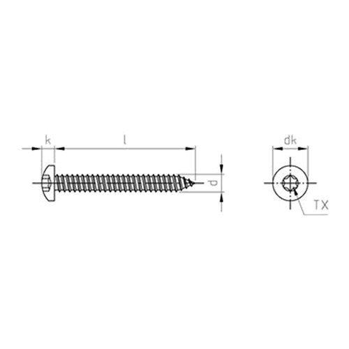 100 Stk DIN 7981 A2 C 3.9X13 TX15 Linsenkopf-Blechschrauben TORX EDELSTAHL A...