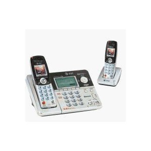 AT&T 5.8 GHz Bluetooth Enabled Cordless Answering System with Two Handsets, Silver/Black (E5632-2A) -