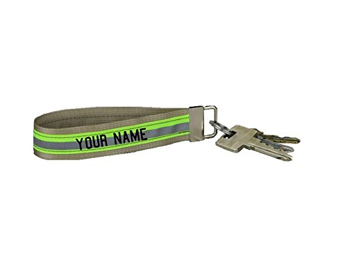 Firefighter Keychain with Wristlet and Reflective Trim Personalized with Name (Tan)