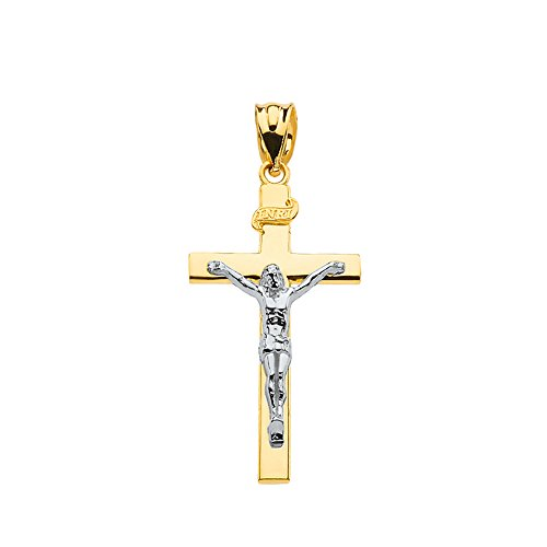 - Solid 10k Two-Tone Gold Cross INRI Crucifix Charm Pendant (1.18