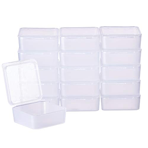 BENECREAT 24 Pack Square Frosted Clear Plastic Bead Storage Containers Box Case with Lids for Items,Pills,Herbs,Tiny Bead,Jewerlry Findings, and Other Small Items - 1.53x1.53x0.63 Inches