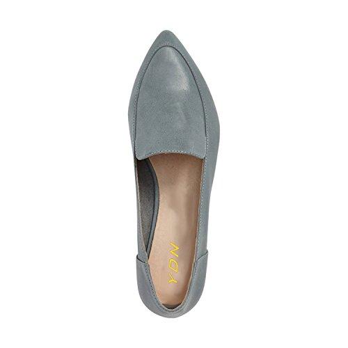 Ydn Femmes Talons Bas Mocassins Slip Sur Oxford Bout Pointu Chaussures Pompes Diapositives Lumière Bleu