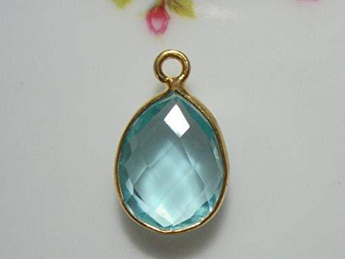 - 1 pc, 16x10mm, Teardrop Swiss Blue Quartz Gold Over Sterling Silver Bezel Rim Charm Pendant, SB