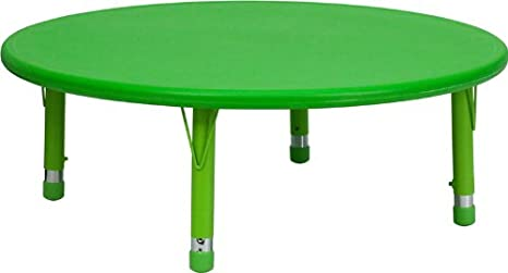 Flash Furniture 45 Round Green Plastic Height Adjustable Activity Table