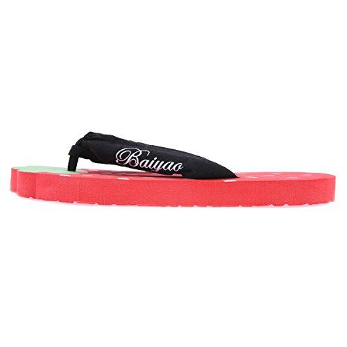 Damara Precioso Mujeres Chanclas Planas Con Formas Zapatillas Chancletas Rojo