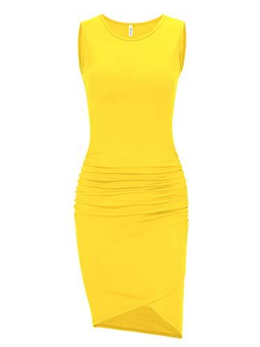 (Women's Casual Long Sleeve Ruched Bodycon Sundress Irregular Sheath T Shirt Dress (Sleeveless Yellow, Medium) )