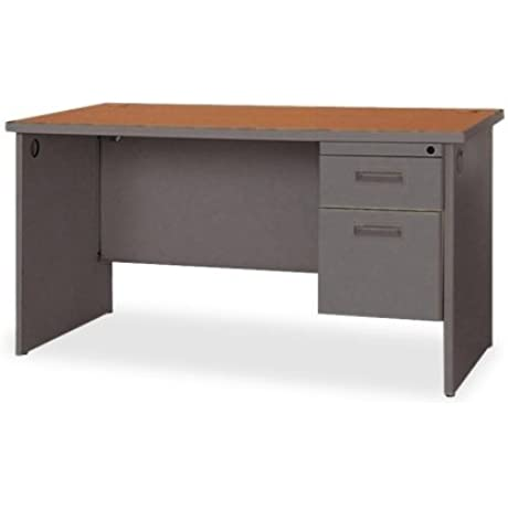 Lorell Single Pedestal Desk 48 By 30 By 29 Inch Cherry Charcoal