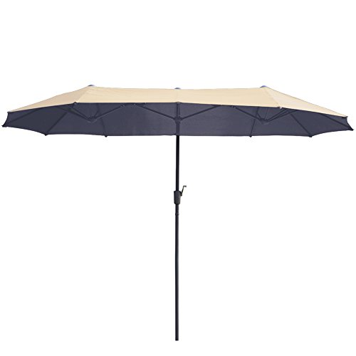AOODA 13 ft Market Patio Umbrella Double-Sided Steel Table Outdoor Umbrella with Crank, Perfect for Outdoors, Patio, or Any Parties (Beige)