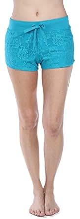 Emmalise Women's Retro Vintage Exercise Yoga Active Shorts, Lace Aqua (Small)