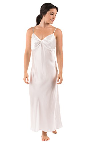 Women's 100% Silk Luxury Nightgown - Sleepwear Gift by TexereSilk (Caviar Noir, Natural White, Small) Special Mother's Day Gift WS0401-NWH-S (Spaghetti Gown Strapped Long)