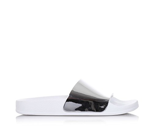 BIOSTAR - Sandale blanche et argent, en caoutchouc et cuir écologique, made in Italy,Fille,Filles, Femme, Femmes