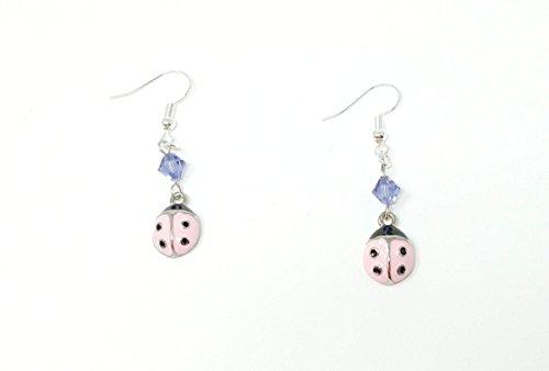 Pink Ladybugs with Swarovski Crystal Earrings