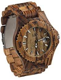 Reloj de madera para hombres mujeres Maui Kool Lahaina Collection Zebrano Reloj de madera analógico bambú Caja de Regalo