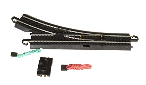 Bachmann Trains - Snap-Fit E-Z TRACK REMOTE TURNOUT - RIGHT (1/card) - STEEL ALLOY Rail With Black Roadbed - HO Scale