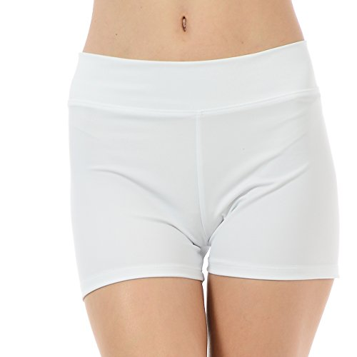 ANZA Girls Activewear Dance Booty Shorts Gym Workout Yoga Shorts-White,Medium(8/10) (White Booties Girls)