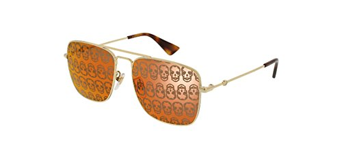 Gucci GG0108S 002 (Gold with Grey with Mirror effect - Sunglasses Gold Gucci Mirror