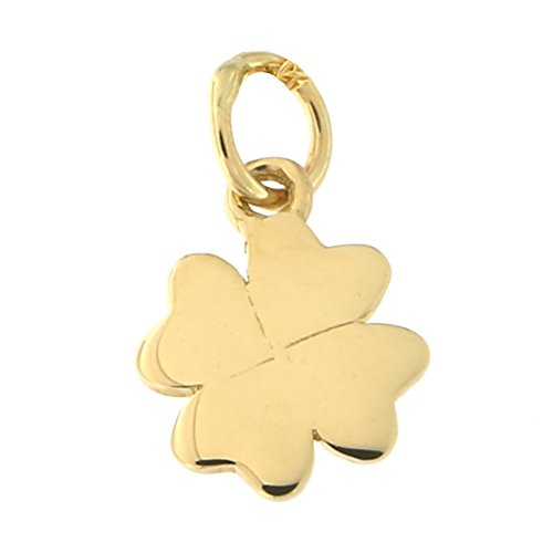 Beauniq 14k Yellow Gold Tiny Four Leaf Clover Pendant Necklace, Pendant only