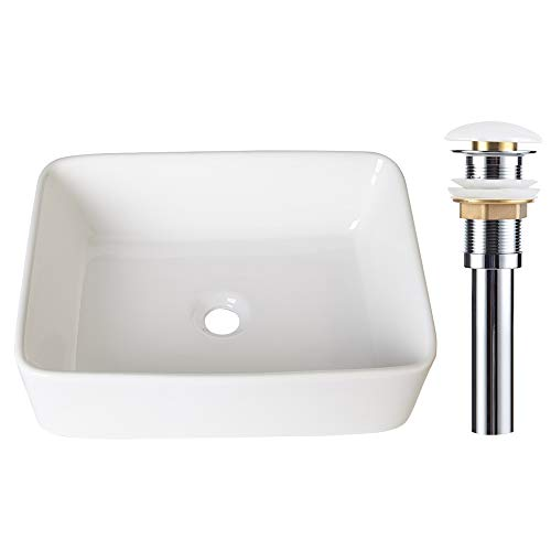 AWESON 19 Inch X 15 Inch Rectangular Ceramic Vessel Sink, With Pop-up Drain, Vanity Sink, Above Counter White Countertop Sink, Art Basin Wash Basin for Lavatory Vanity Cabinet (19''-Rectangular) by AWESON