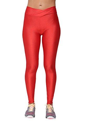 Yukata Women's Stretch Skinny Shiny Spandex Yoga Leggings Workout Sports Pants, Red S ()