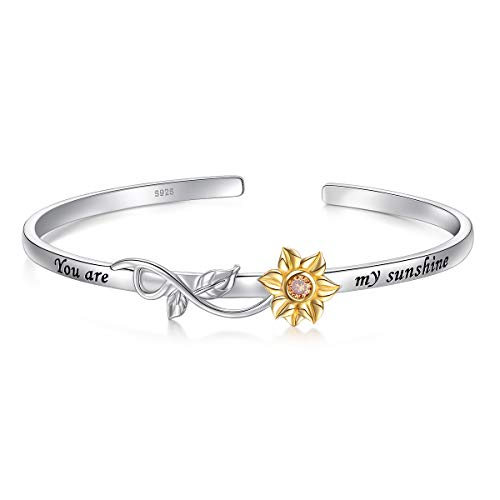 - S925 Sterling Silver Sunflower with CZ Engraved You Are My Sunshine Bangle for Women 18