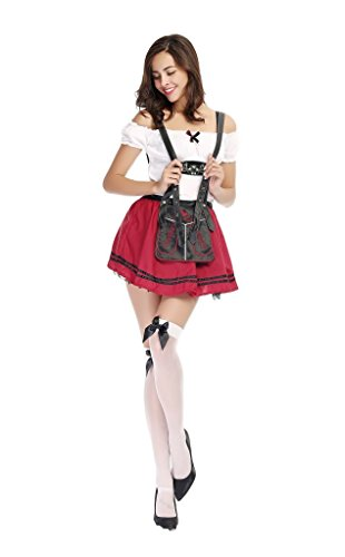 Moonight Women German Beer Girl Oktoberfest Halloween Adult Costume (Beer Garden Girl Costume)