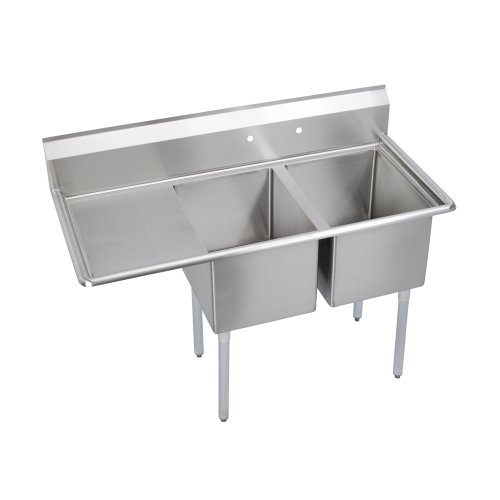 "Elkay Foodservice 3 Compartment Sink, 102.5""X29.75"" OA, 36"" Working Height, 24X24 Bowl, 12 Deep, 9.75"" Backsplash, Left 24"" Drainboards, 8"" On Center Faucet Hole, Galvinized Legs, Adjustable Feet, 18 Gauge 300 Series Stainless Steel, NSF Certified from Elkay Foodservice"