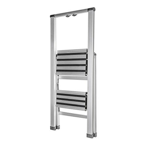 (HomeCrate Folding Two Step Ultra-Light Aluminum Step Stool Ladder, 250 lb. Load Capacity)