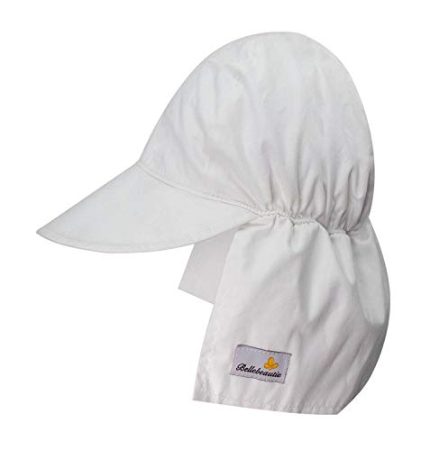 BELLEBEAUTIE Baby Flap Sun hat Chemical Free Breathable Cotton UPF 50+ Sun Protection Kids Hat w/Neck Flap(10 Colors) White