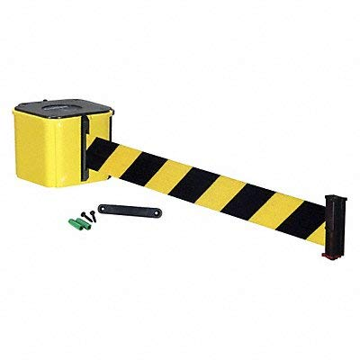 Retracta-Belt Wall Barrier, 30ft Black/Yellow Belt