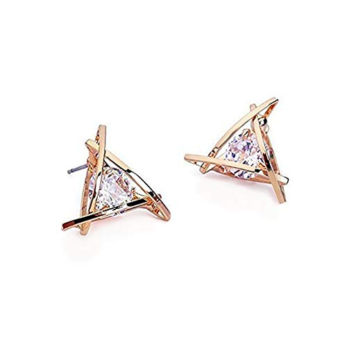 Carfeny Rose Gold Stud Earrings Triangle Shaped CZ Earrings for Women Expertly Made of Sparkling Starlight Round Cut Cubic Zirconia, ❤️Gift for Her❤️ -