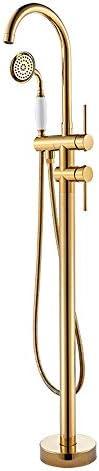 自立型バスタブの蛇口真鍮ゴールド浴槽浴槽フィラーセットフロアマウントダブルハンドルバスシャワーミキサータップハンドヘルドシャワー付き,Gold b