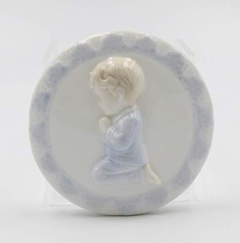 Praying Boy Porcelain - Cosmos Gifts Fine Porcelain Inspirational Praying Boy Round Shape Plug-in Night Light Figurine, 4-1/2