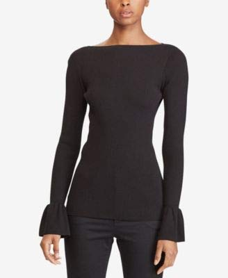 Lauren Ralph Lauren Petite Bell Cuff Rib Sweater (Black, Petite ()