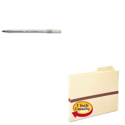 KITBICGSM11BKSMD75487 - Value Kit - Smead One Inch Accordion Expansion File Pocket (SMD75487) and BIC Round Stic Ballpoint Stick Pen (BICGSM11BK)