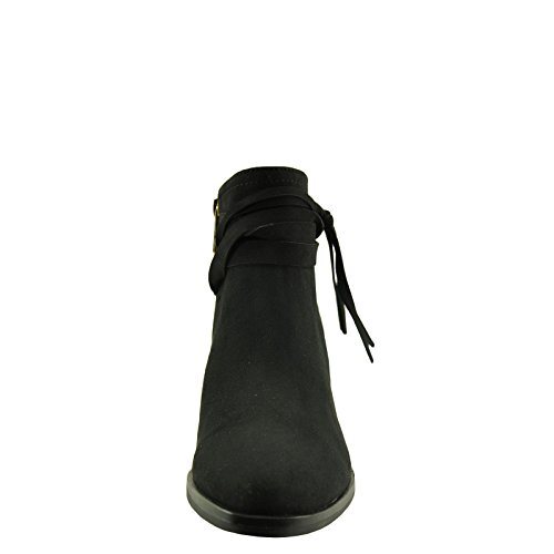 Bamboo Avenge 04M Womens Lace Wrapped Side Tassel Bootie Black 896mFIEUAM