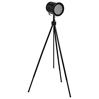 Amazon Brand – Stone & Beam Vintage Industrial Spotlight Tripod Floor Lamp With LED Light Bulb - 25.5 x 25.5 x 60 Inches, Black
