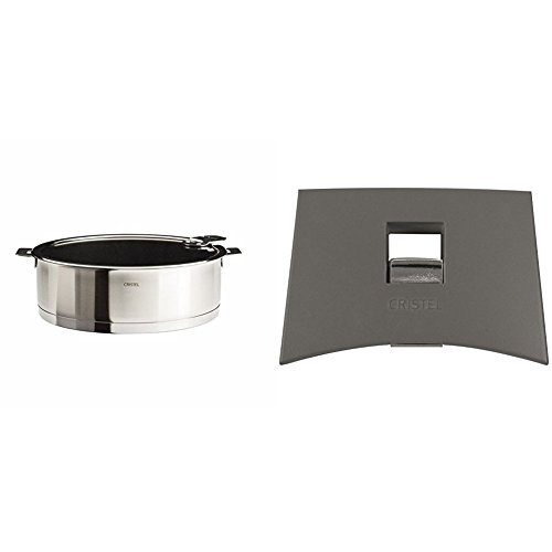 Cristel Strate S26QLEKSA Saute Pan, 4.5 quart, Silver with Cristel Mutine Plmag Side Handle, Grey